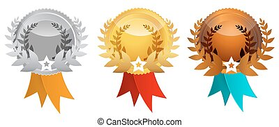 Medals Set - Vector Awards Icons Illustration
