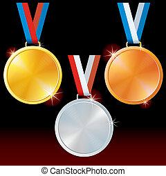 medals., silber, sport, goldenes, bronze