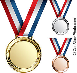Medals - Three detailed vector medals with room for your ...