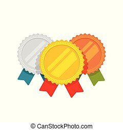 Medals vector, flat cartoon gold, bronze and silver medal with red, green and blue ribbon, sport award medallions template isolated, idea or blank quality or best badge or label, guarantee emblems