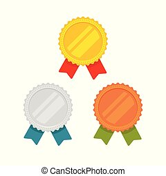 Medals vector set isolated, flat cartoon gold, bronze and silver medal with red, green and blue ribbon, sport award medallions, idea of blank quality or best badge or label, guarantee emblems clipart