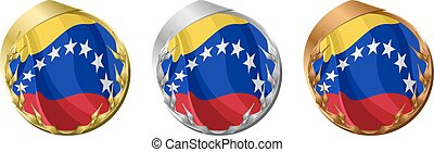 Medals Venezuela - A gold, silver and bronze medal with the...
