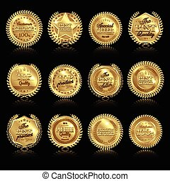 Medals With Reflections Set - Twelve isolated round golden...