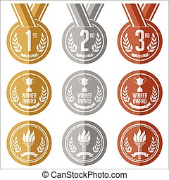 Gold, Silver and Bronze Medals.