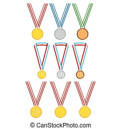 Medals with ribbon set isolated on white background.