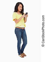medan, snopen, användande, student, latin, smartphone