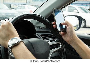 medan, texting, drivande