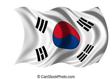 medborgare, korea, flagga, syd
