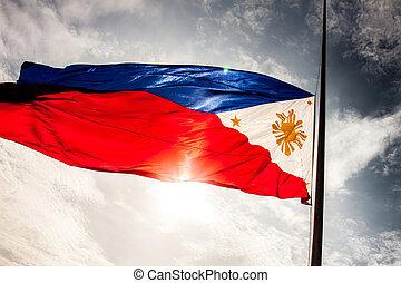 medborgare, philippine, flagga
