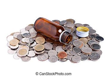 medcine, 瓶子, 由于, 硬幣, 醫學的概念