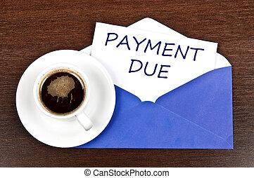 meddelande, betalning väntad