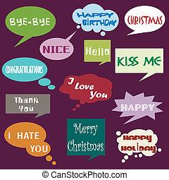 meddelande, dialog, balloon