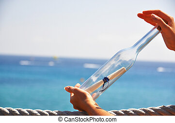 meddelande, flaska, räcker