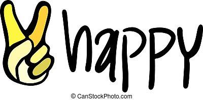 meddelande, lycklig