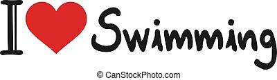 meddelande, simning, kärlek