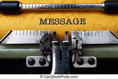 meddelande, text, på, skrivmaskin