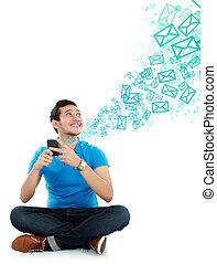 meddelande, texting, man