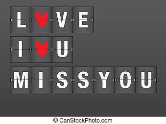 meddelanden, flygplats, kärlek, flip, bord