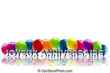 meddelelse, fødselsdag, fransk, glade