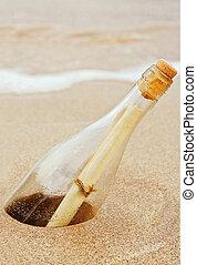 meddelelse, flaske