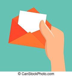 meddelelse, greb, konvolut, hånd