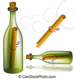 meddelelse, sæt, flaske