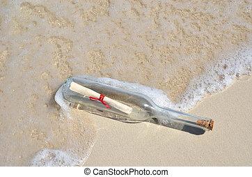 meddelelse, strand, flaske