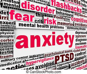 meddelelse, sundhedsproblem, angsten, symbol, begreb
