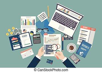 meddeler, lejlighed, forskning, begreb, illustration., firma, data, beregning, process., skat, projekt, baggrund., vektor, konstruktion, bogholderi, analyse, planlægning, auditing, ledelse, management.