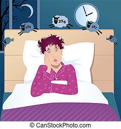 medelålder, kvinna, sömnlöshet