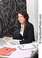 medel, kvinnlig, arbete, egendom, skrivbord