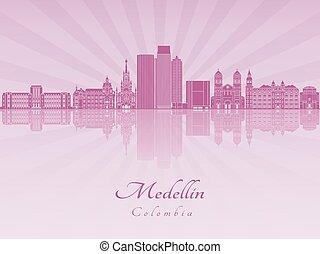 Medellin skyline in purple radiant orchid