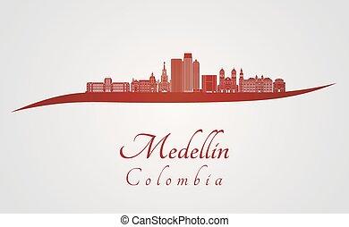 Medellin skyline in red