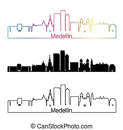 Medellin skyline linear style with rainbow