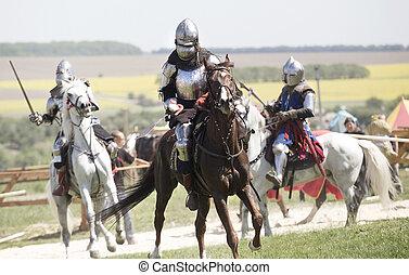medeltida, adelsmän, in, slag