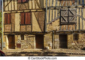 medeltida, hus, fasad