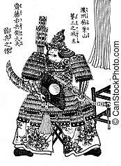 medeltida, japansk, krigare