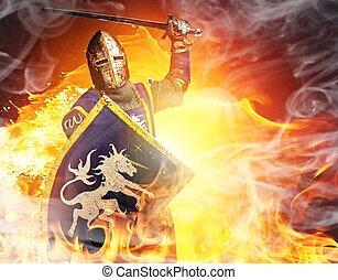 medeltida, riddare, in, angrepp, ställning, eld, bakgrund.
