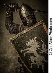medeltida, riddare, med, svärd, och, skydda, mot, stena...