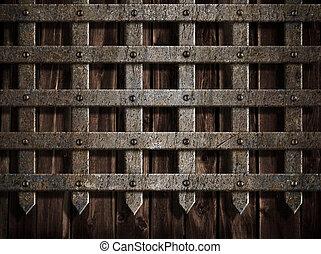 medeltida, slott, vägg, eller, metall, grind, bakgrund