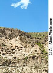 medeltida, transcaucasus, vardzia, stad, grotta, georgia, kloster