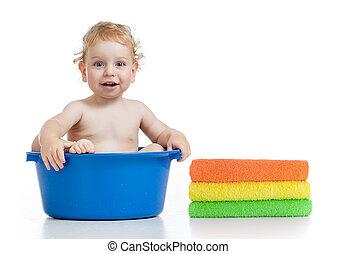 medence, boldog, mosás, kölyök