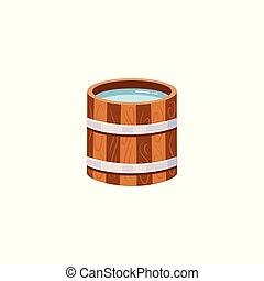medence, kitakarít, vagy, puskacső, isolated., fából való, víz, vektor, ábra, ivás