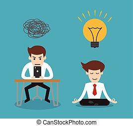 medetating, gebruiken, smartphone, netwerk, zakelijk, krijgen, idee, concept, sociaal, spotprent, man