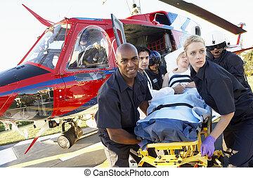 medevac, 医療補助員, 患者, 荷を下すこと