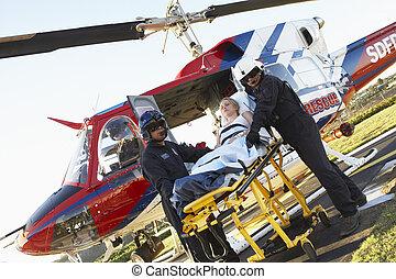medevac, infirmiers, patient, déchargement