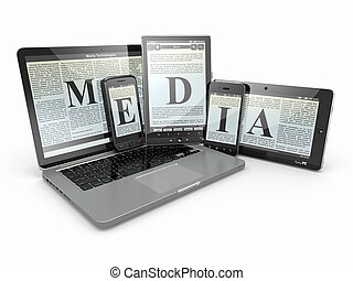 media., ラップトップ, 電話, そして, タブレット, pc., 電子, devices.