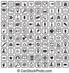 media, 100, sociale, icone