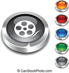 Media 3d button. - .. Media 3d button set. Vector...