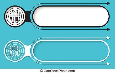 media, abstract, pijl, twee, knopen, sociaal, pictogram